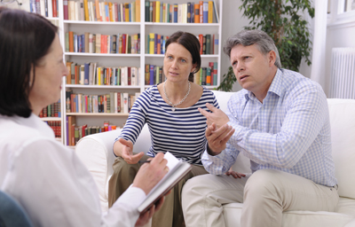 Couple talking to the therapist